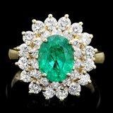 14k Gold 2.00ct Emerald 1.50ct Diamond Ring