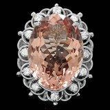 14k Gold 18.50ct Morganite 0.60ct Diamond Ring