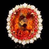 14k Gold 12.00ct Citrine 1.30ct Diamond Ring