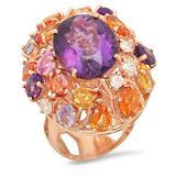 14K Gold 8.31ct Amethyst 6.50ct Sapphire 0.75cts Diamond Ring