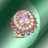 14K Gold 12.44cts Kunzite, 7.48cts Sapphire & 1.64cts Diamond Ring