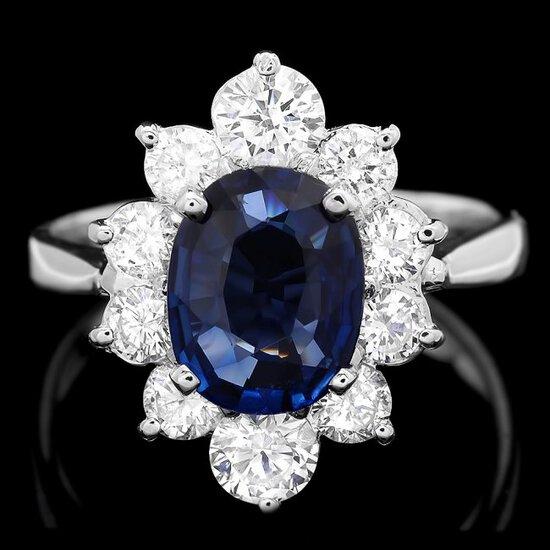 18k Gold 1.80ct Sapphire 1.20ct Diamond Ring
