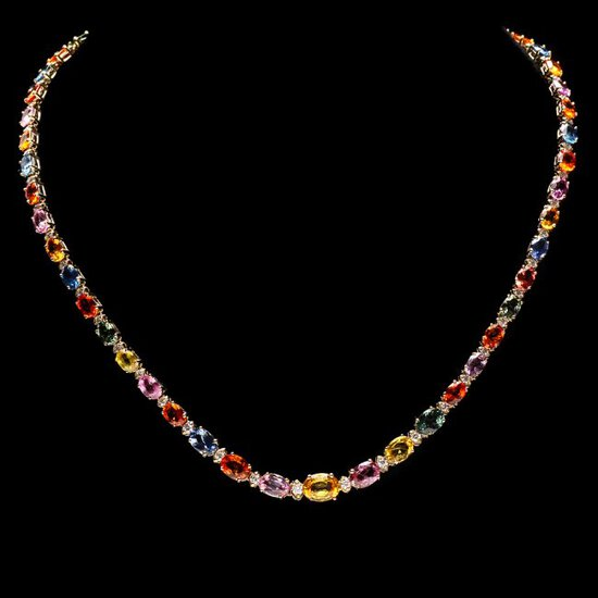 14k Gold 31ct Sapphire 1.4ct Diamond Necklace