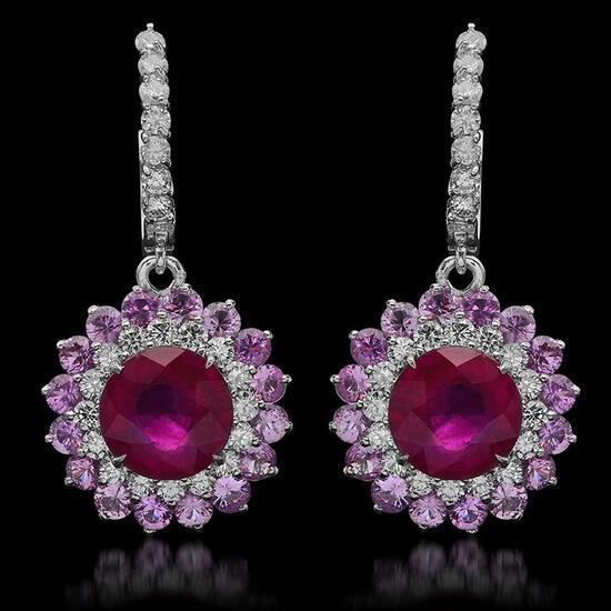 14K Gold 6.04ct Ruby, 4.80ct Pink Sapphire, 1.48ct Diamond Earrings