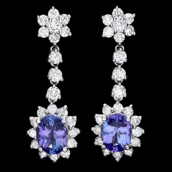 14k Gold 3.50ct Tanzanite 2.80ct Diamond Earrings