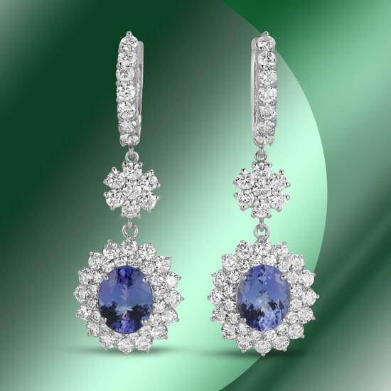 14K Gold 6.09cts Tanzanite & 7.01cts Diamond Earrings