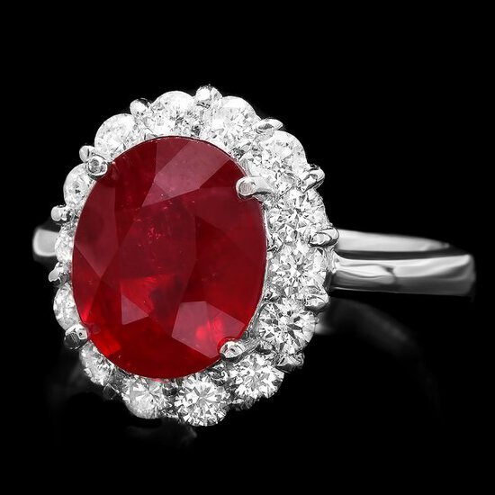 14k White Gold 5.00ct Ruby 0.90ct Diamond Ring