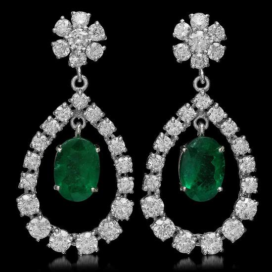 14K Gold 5.83ct Emerald 7.00ct Diamond Earrings