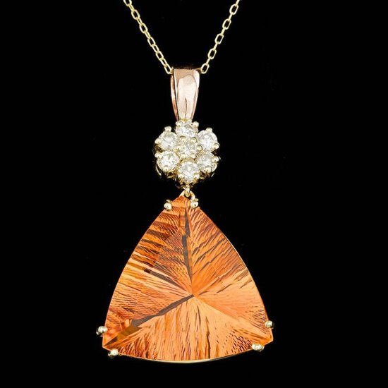 14k Gold 22.00ct Citrine 0.70ct Diamond Pendant