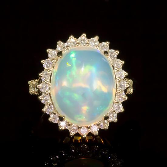 14K Gold 7.02ct Opal 1.11ct Diamond Ring