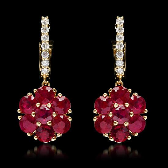 14k Yellow Gold 5.40ct Ruby 0.58ct Diamond Earrings