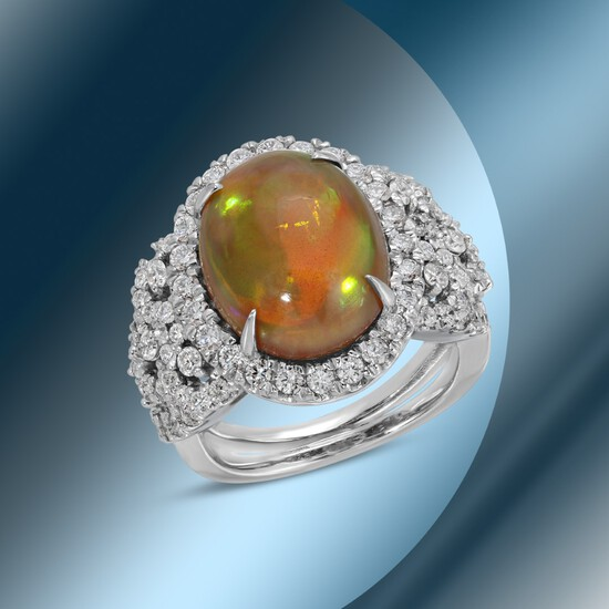 14K Gold 6.52cts Opal & 1.72cts Diamond Ring