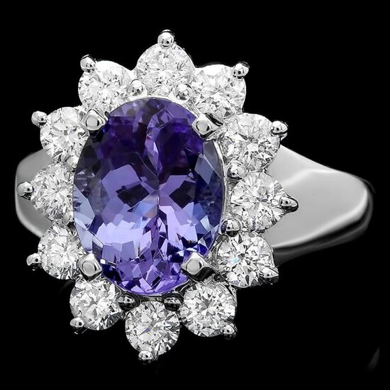 14k White Gold 2.50ct Tanzanite 1ct Diamond Ring