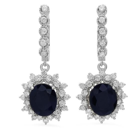 14K Gold 7.97ct Sapphire 1.63ct Diamond Earrings