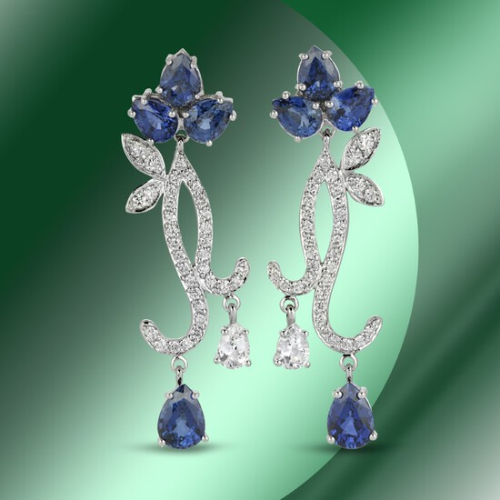 14K Gold 10.63cts Sapphire & 1.76cts Diamond Earrings