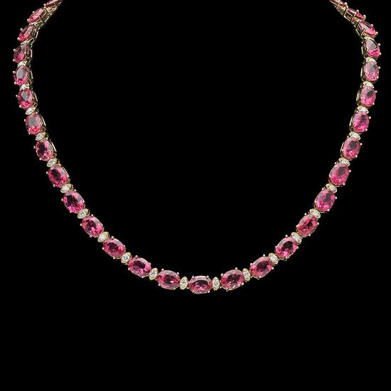 14K Gold 45.66ct Tourmaline 2.45ct Diamond Necklace