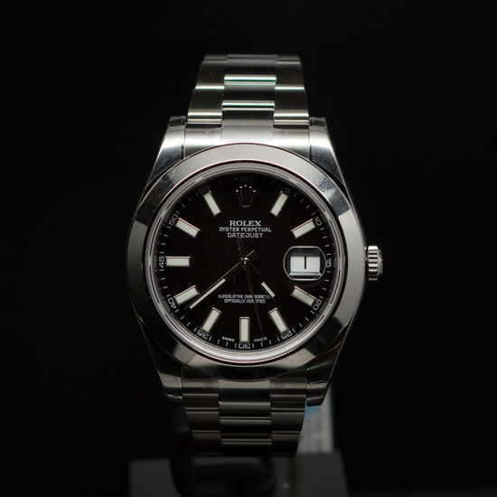 Rolex Stainless Steel Datejust II 41mm Black Dial Men's Wristwatch