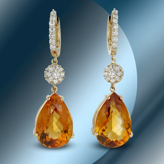 14K Gold 24.04 Citrine & 1.30cts Diamond Earrings