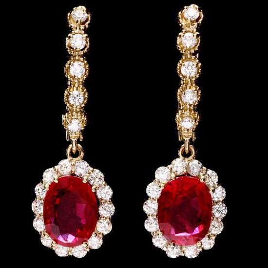 14k Gold 5.00ct Ruby 1.45ct Diamond Earrings