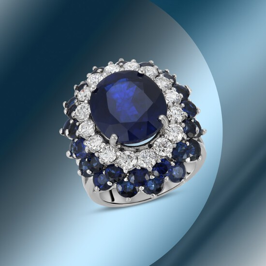 14K Gold 18.44cts Sapphire & 1.68cts Diamond Ring