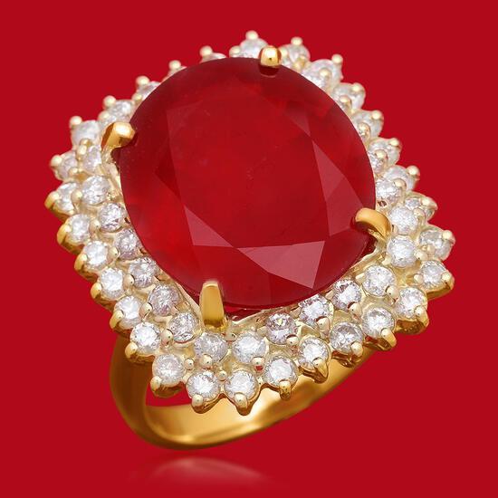 14K Gold 14.12ct Ruby 1.74ct Diamond Ring