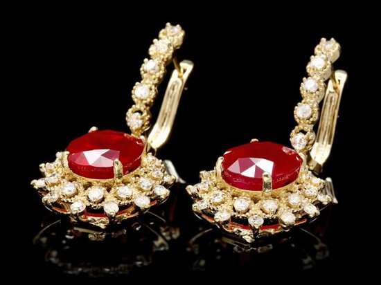 14k Gold 10.00ct Ruby 1.60ct Diamond Earrings