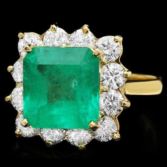 14k Gold 4.30ct Emerald 1.80ct Diamond Ring