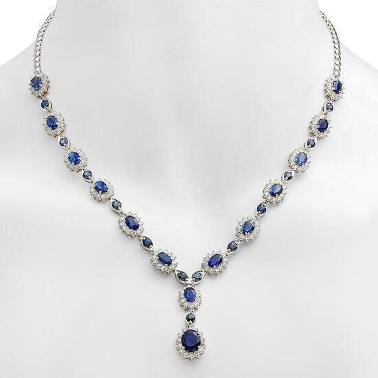 18K Gold 12.30ct Sapphire 5.25ct Diamond Necklace