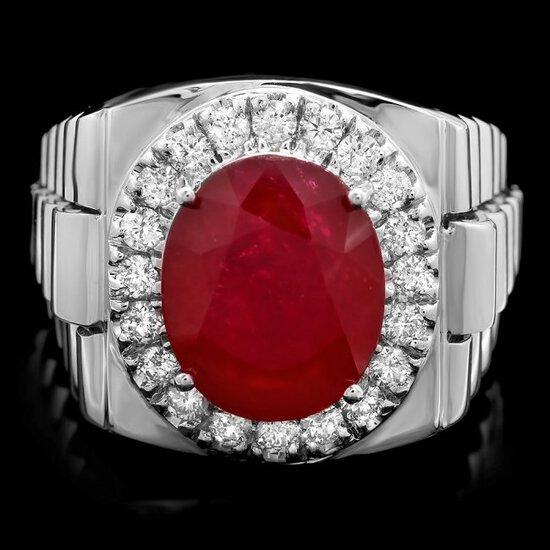 14k White Gold 10.00ct Ruby 0.80ct Diamond Ring