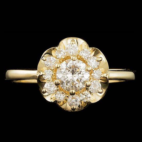 14k Yellow Gold .8ct Diamond Ring