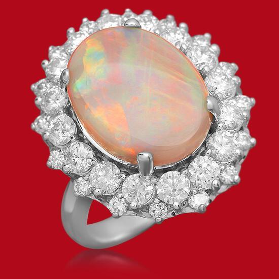 14K Gold 3.87ct Opal 1.80ct Diamond Ring