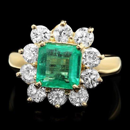 14k Gold 2.00ct Emerald 1.60ct Diamond Ring