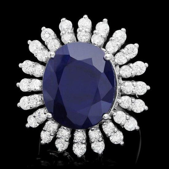 14k Gold 15.00ct Sapphire 2.45ct Diamond Ring