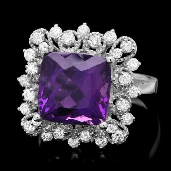 14k Gold 4.70ct Amethyst 0.65ct Diamond Ring