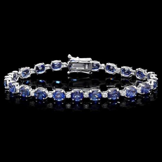 14k Gold 16.00ct Sapphire 1.20ct Diamond Bracelet
