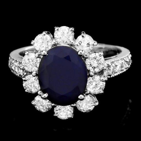 14k White Gold 2.60ct Sapphire 1.5ct Diamond Ring