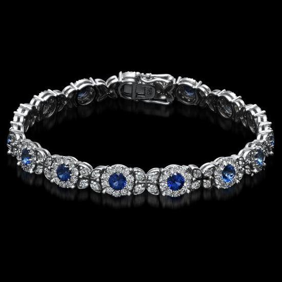 14K Gold 5.69ct Sapphire 3.88ct Diamond Bracelet