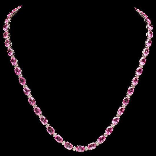 14k 40ct Pink Sapphire 1.50ct Diamond Necklace