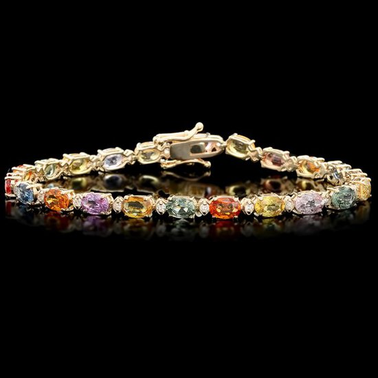 14k Gold 13.00ct Sapphire 0.50ct Diamond Bracelet