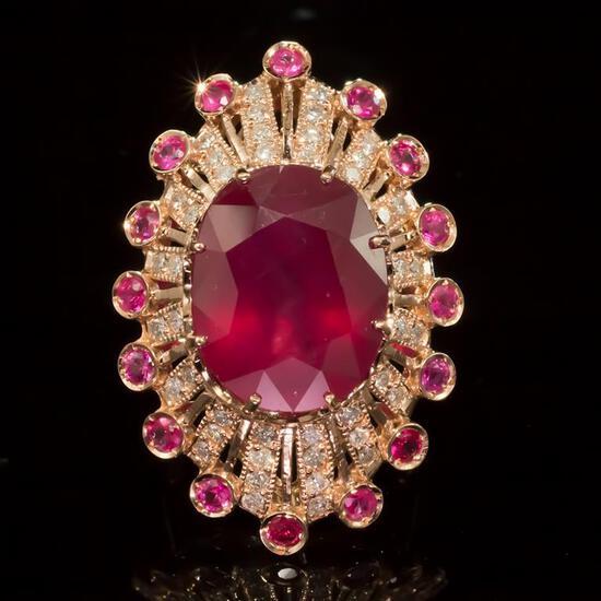 14k Gold 19.23ct Ruby 1.10ct Diamond Ring