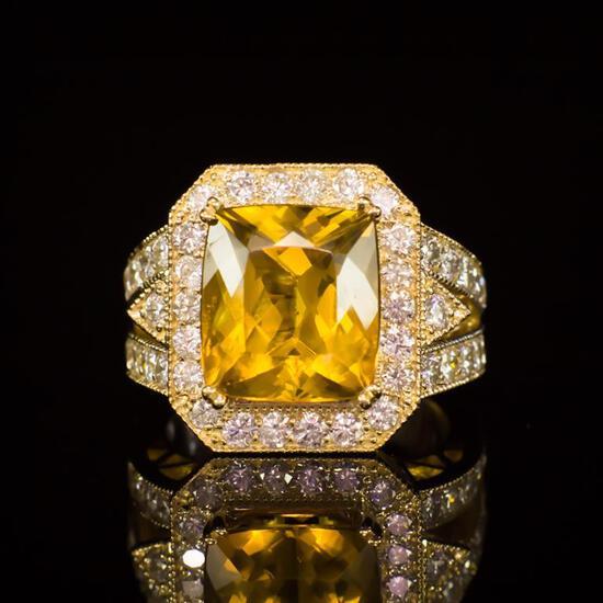 14k Gold 6.20ct Yellow Beryl 2.30ct Diamond Ring