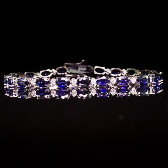 14K Gold 9.40ct Sapphire 0.70ct Diamond Bracelet
