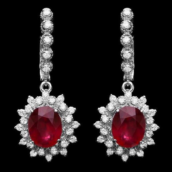 14k Gold 8.00ct Ruby 1.50ct Diamond Earrings
