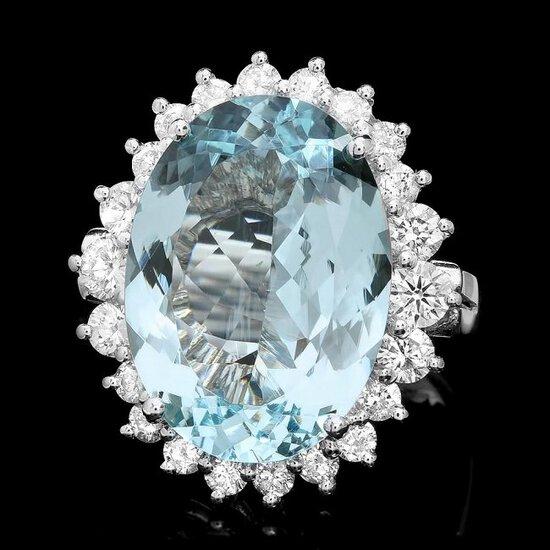 14k Gold 9.00ct Aquamarine 1.30ct Diamond Ring