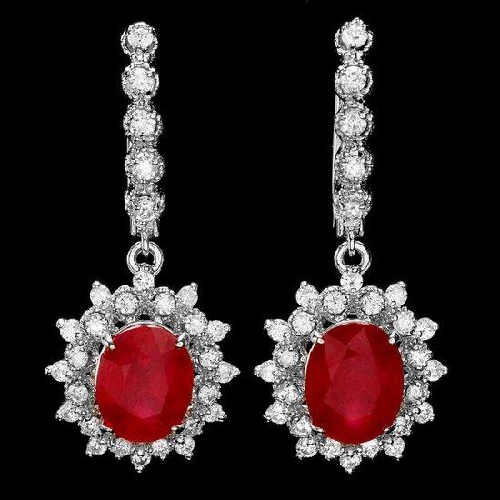 14k Gold 8.00ct Ruby 1.40ct Diamond Earrings
