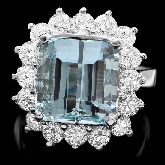 14k White Gold 7.40ct Aquamarine 2ct Diamond Ring