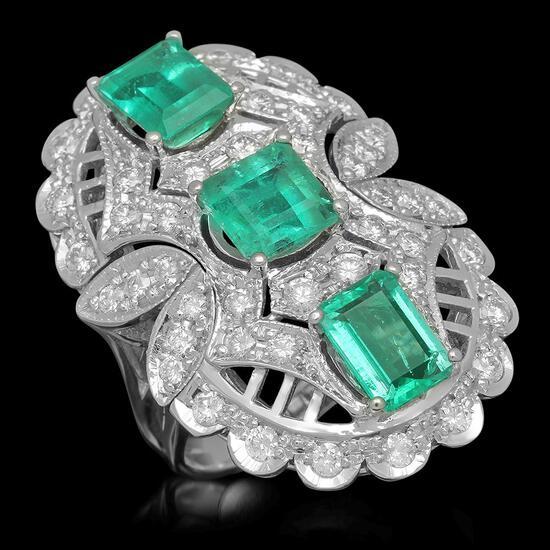 14K Gold 4.85ct Emerald 1.65ct Diamond Ring