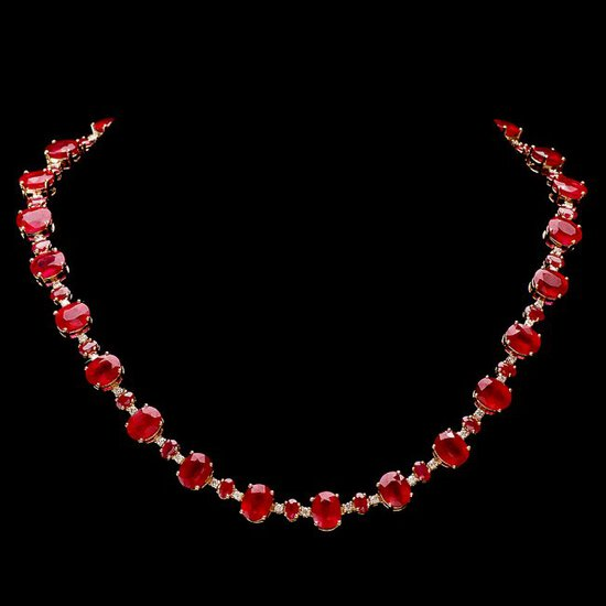 14k Yellow Gold 69ct Ruby 1.75ct Diamond Necklace