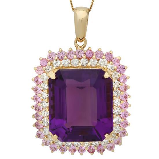 14K Gold 25.44ct Amethyst 2.03ct Sapphire 1.51ct Diamond Pendant