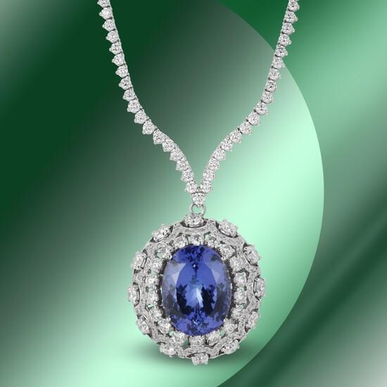 14K Gold 18.10cts Tanzanite & 11.82cts Diamond Necklace